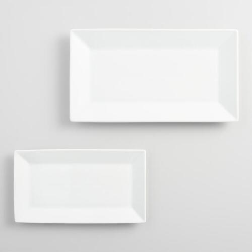 White Rimmed Rectangle Platters