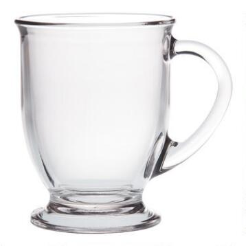 Glass Café Mugs, Set of 2