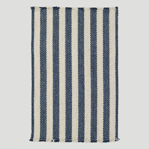Cobblestone Rug, Denim Shingle Stripe