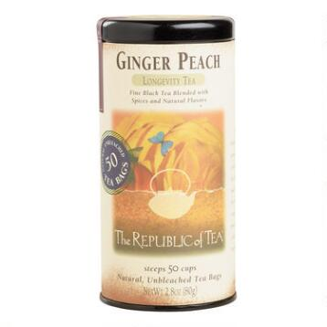 The Republic of Tea Ginger Peach Black Tea, 50-Count