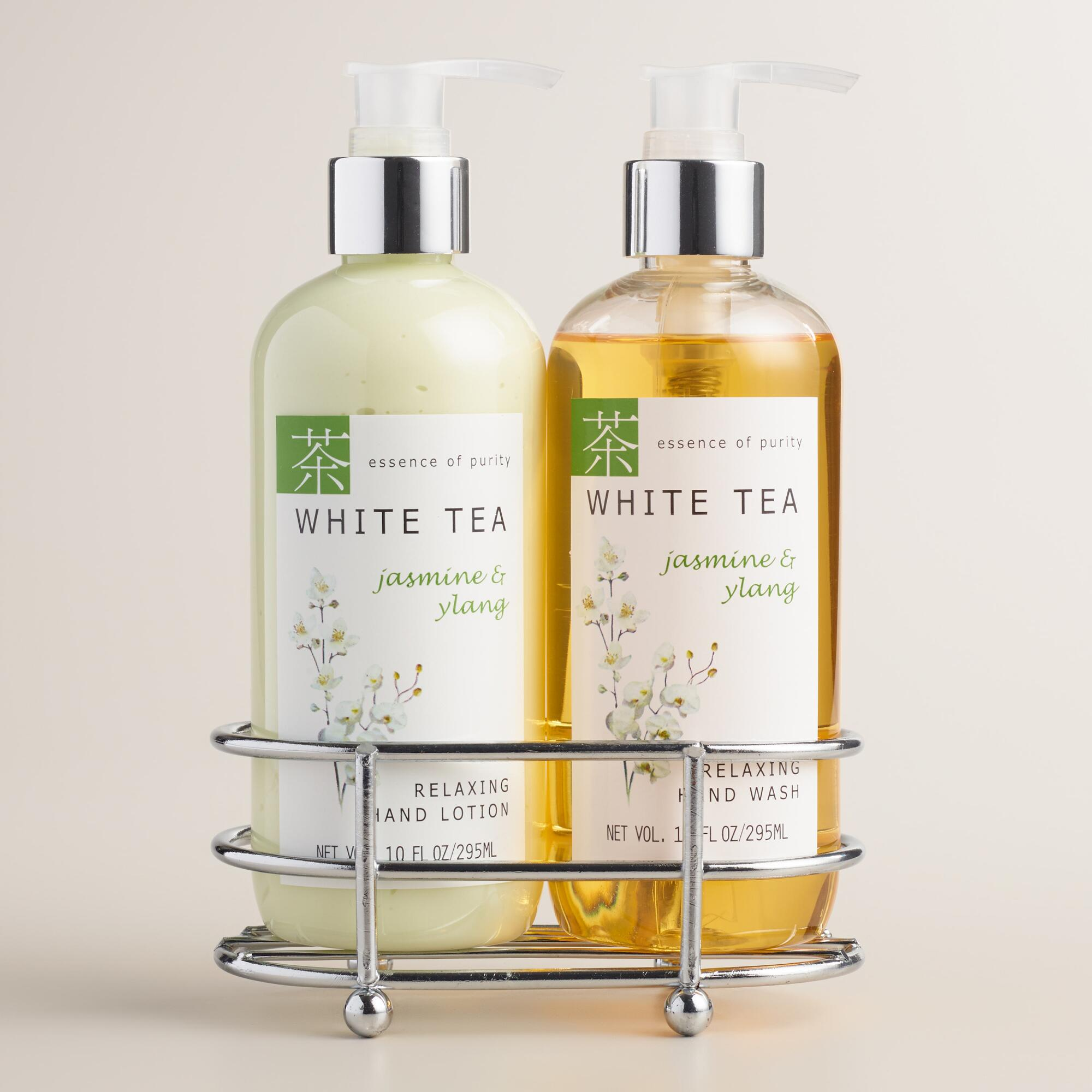 White tea jasmine ylang liquid soap and lotion caddy Hand wash and lotion caddy