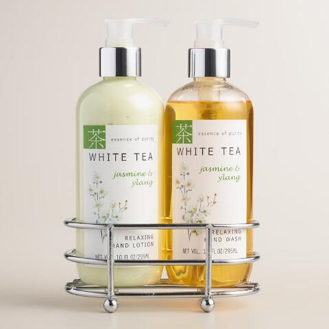 White Tea Jasmine Ylang Liquid Soap And Lotion Caddy