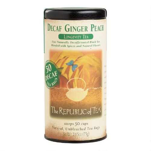 The Republic of Tea Ginger Peach Black Decaf Tea, 50-Count