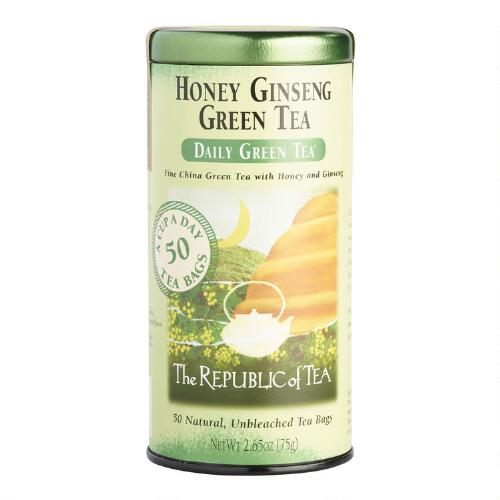 The Republic of Tea Honey Ginseng Green Tea, 50 Count Tin