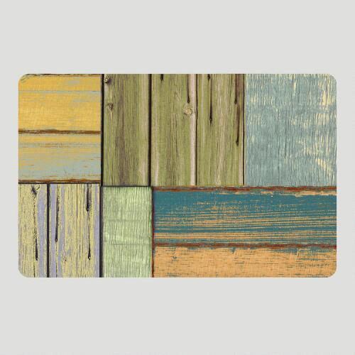 Pastel Wood Design Cushioned Floor Mat