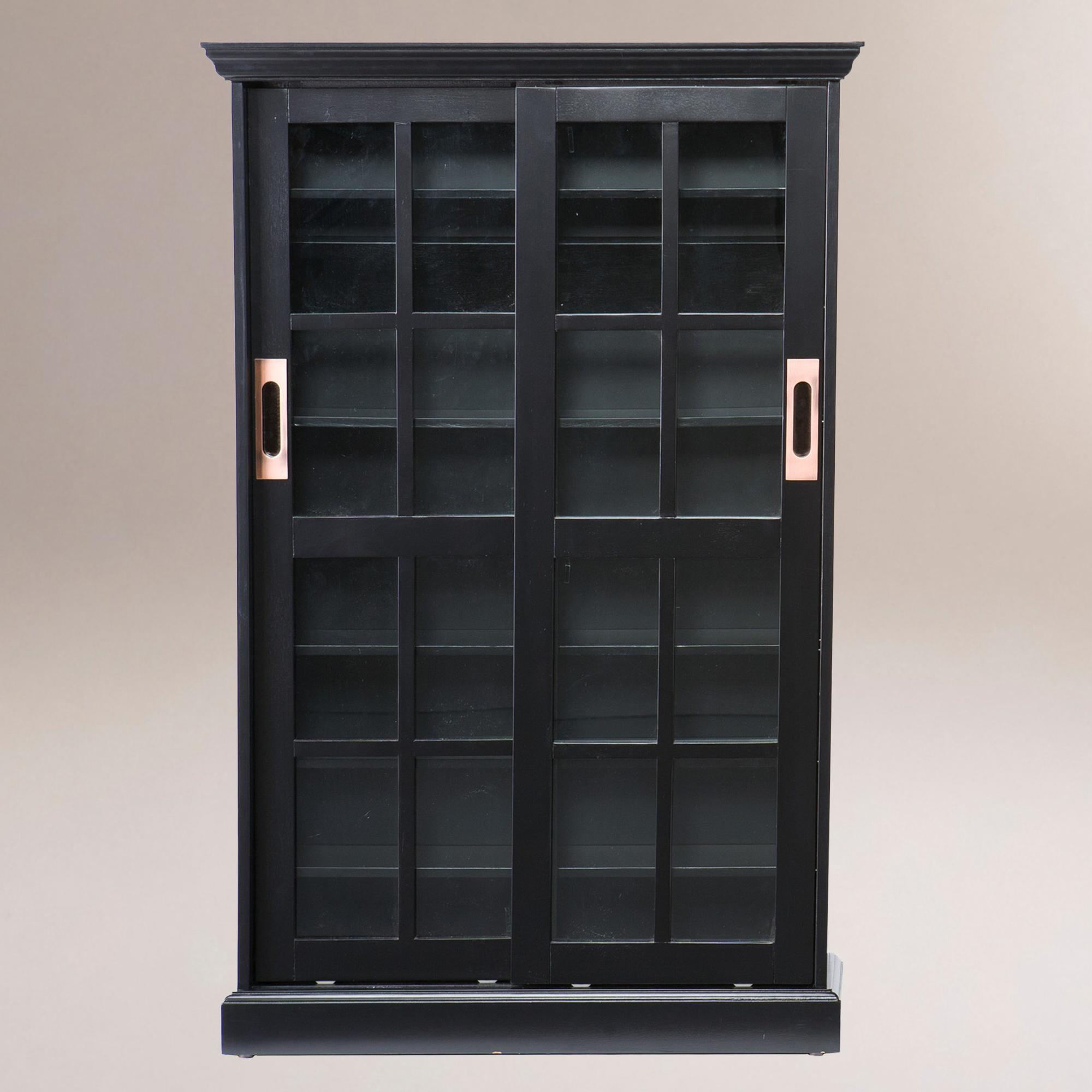 Black sliding door bookcase and media cabinet world market for Black cabinet with doors
