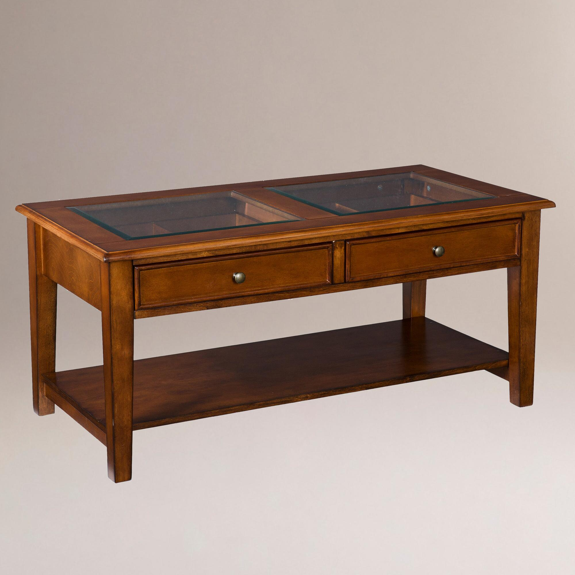 Walnut display coffee table world market for Display coffee table