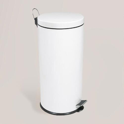 White Stainless Steel Step Trash Can
