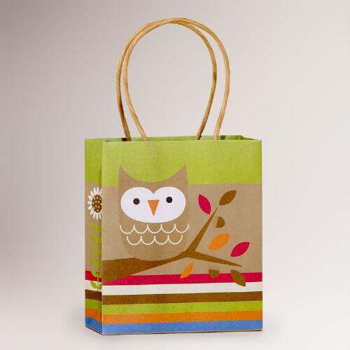 Kraft Owl Small Gift Bag