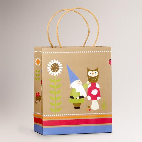 Kraft Gnome & Owl Medium Gift Bag