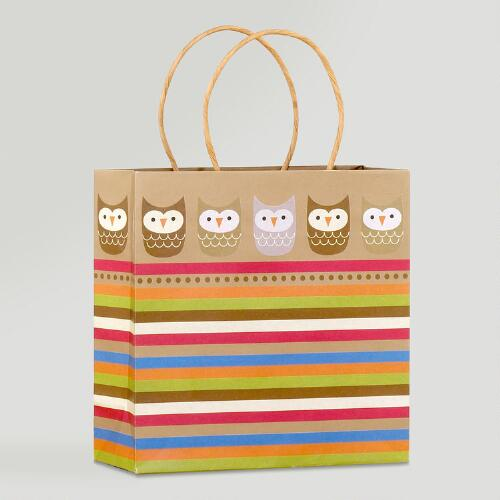 Kraft Border Owls Medium Gift Bag