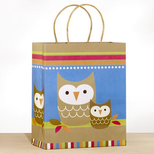 Kraft Owl & Baby Large Gift Bag
