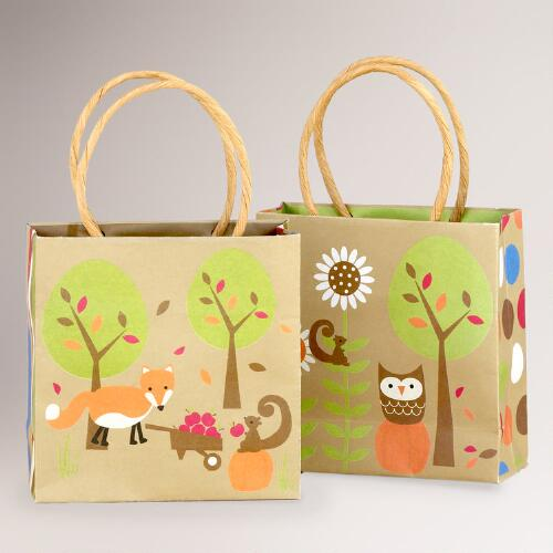 Owl & Fox Mini Gift Bags, Set of 4