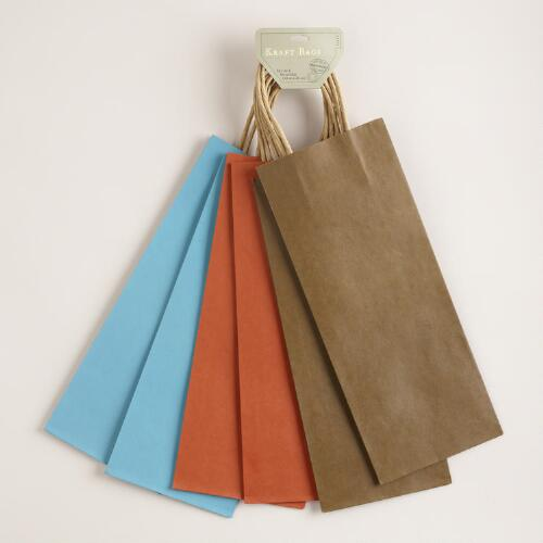 Kraft Blue, Brown & Orange Wine Bag