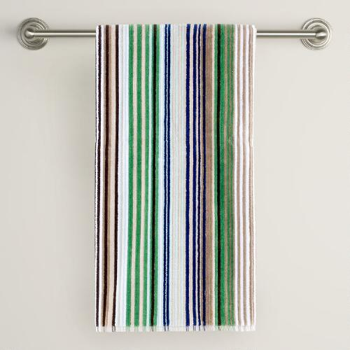 Blue/Green Striped Bath Towel