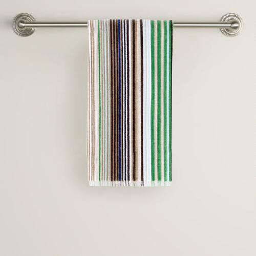 Blue/Green Striped Hand Towel
