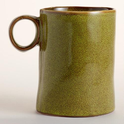 Green Reactive Glaze Mugs, Set of 2