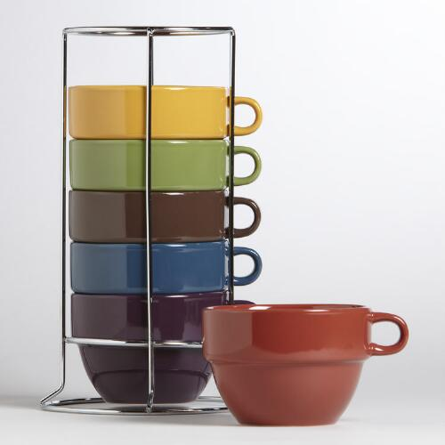 Tradewinds Multicolor Stacking Mugs, Set of 6