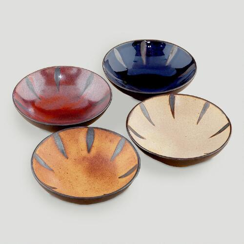 Reactive Glaze Sauce Plates, Set of 4