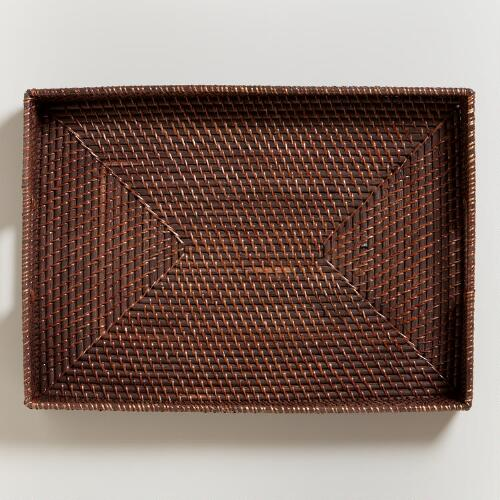 Espresso Rattan Serving Tray