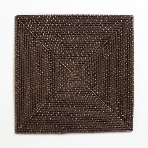 Espresso Rattan Square Chargers, Set of 4