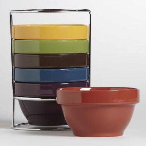 Multicolor Stacking Bowls, Set of 6