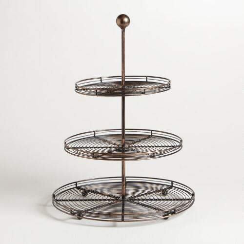 Bronze Wire 3-Tier Pastry Stand