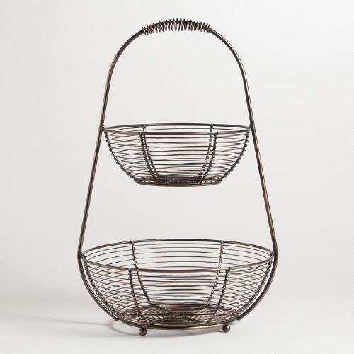 Bronze Wire 2-Tier Basket