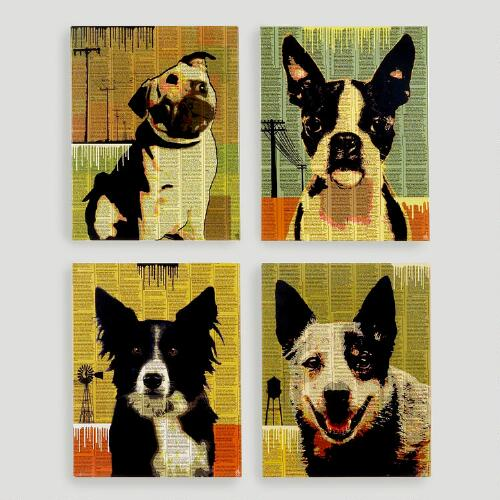 Newspaper Dog Plaques, Set of 4