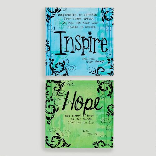 Hope and Inspire Metal Plaques, Set of 2