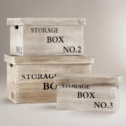 Lida Wood Storage Boxes, Set of 3
