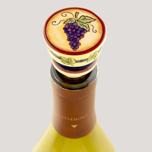 Painted Grapes Ceramic Bottle Stoppers, Set of 2