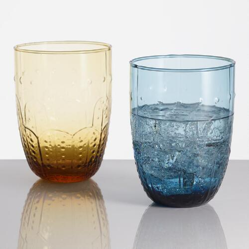 Acrylic Fez Embossed Tumbler Glasses, Set of 4