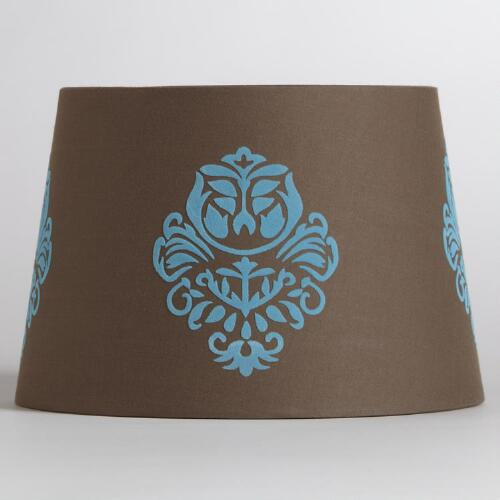 Brown & Blue Flower Accent Lamp Shade