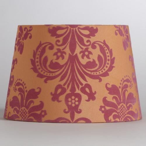 Pink & Orange Flocked Accent Lamp Shade