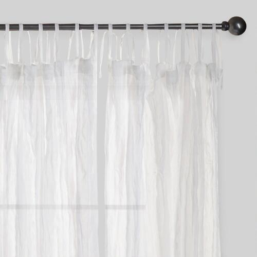 White Crinkle Voile Cotton Curtains, Set of 2