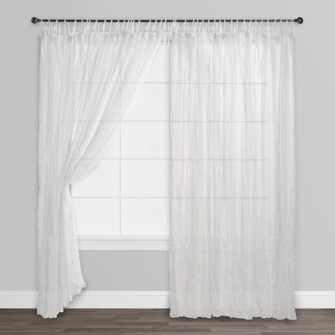 white crinkle sheer voile cotton curtains set of 2 world market