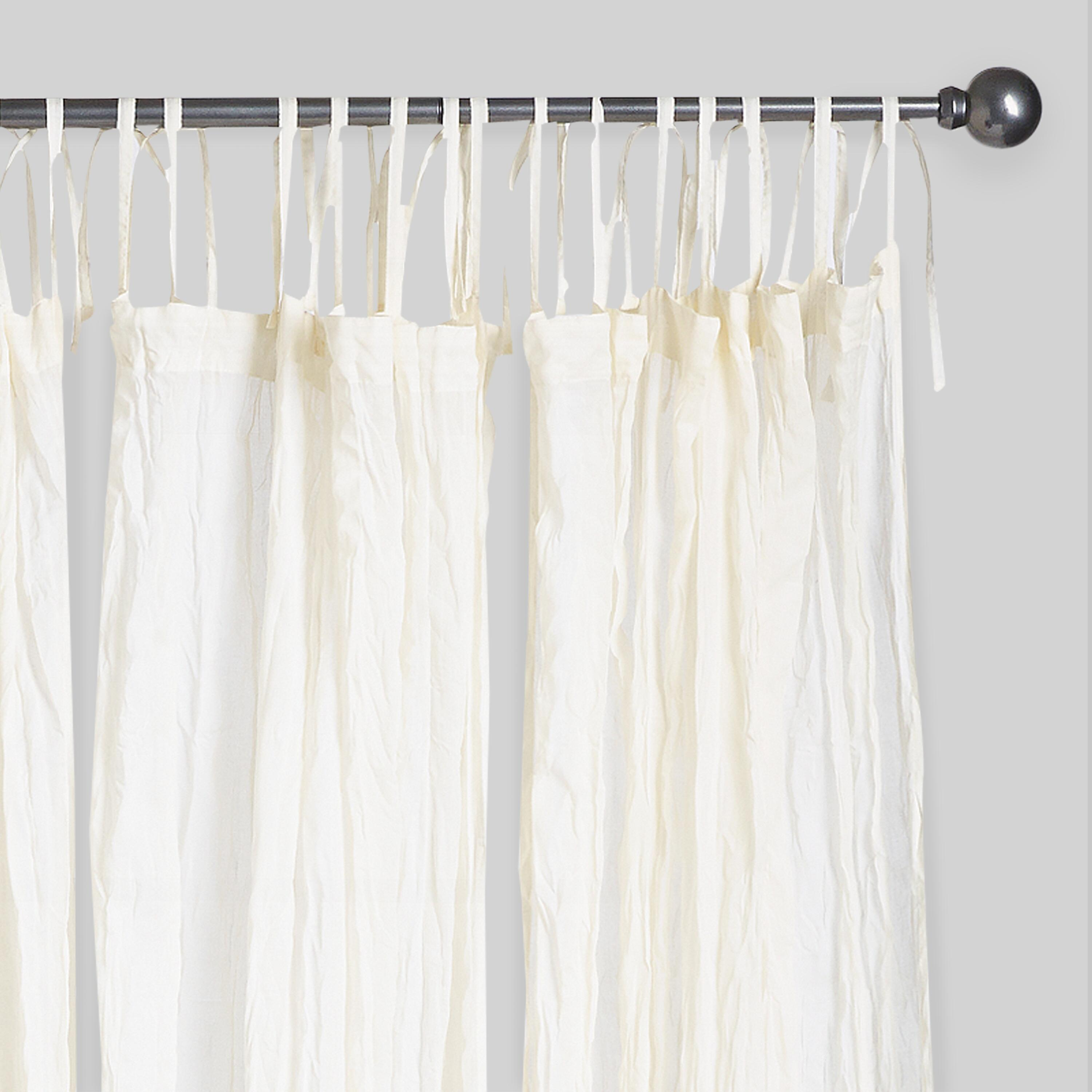 natural crinkle voile cotton curtains set of 2 white 84 l ebay
