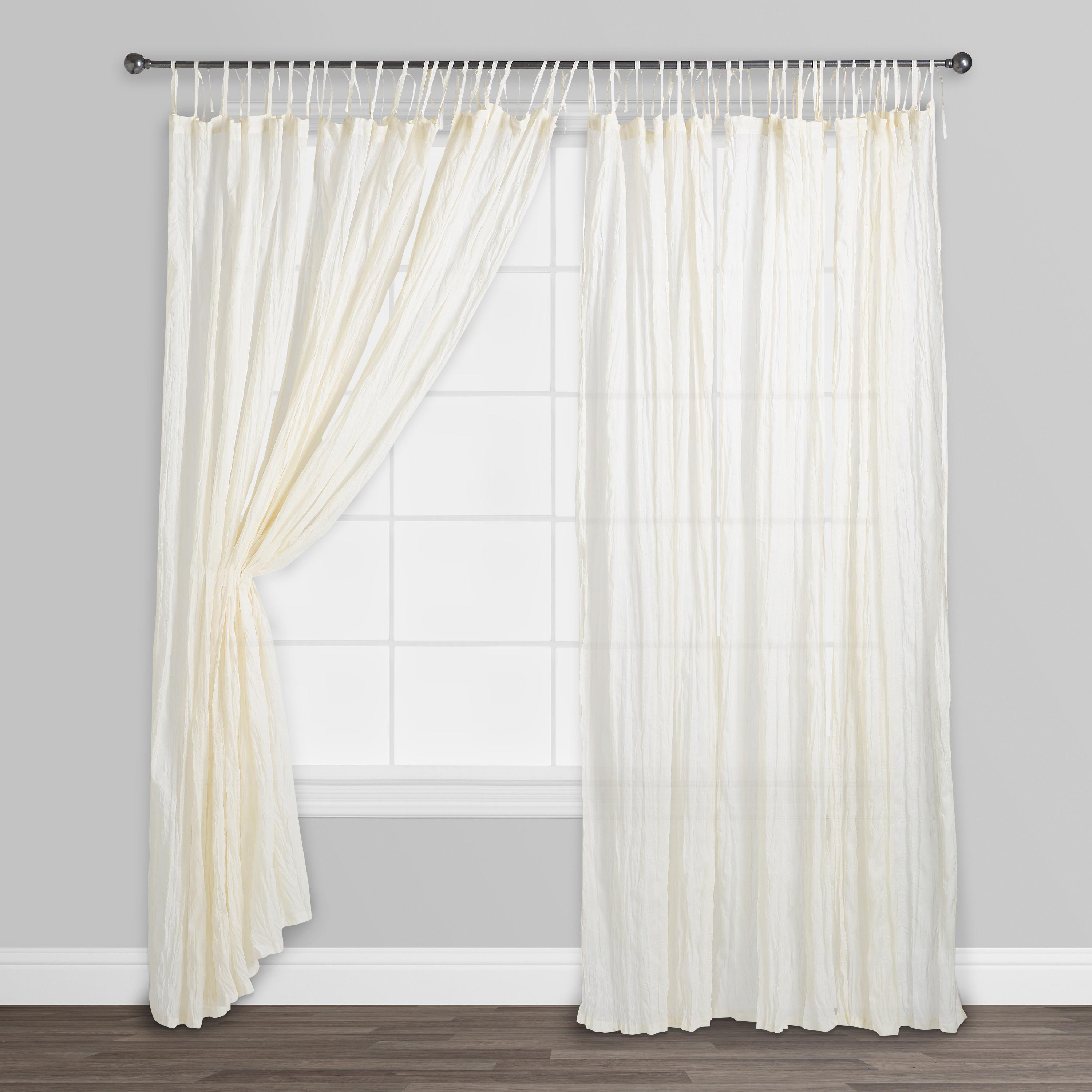 natural crinkle voile cotton curtains set of 2 white