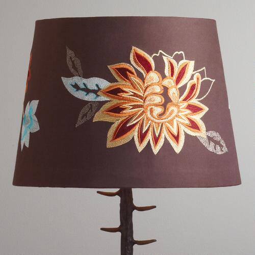 Brown Embroidered Flower Table Lamp Shade