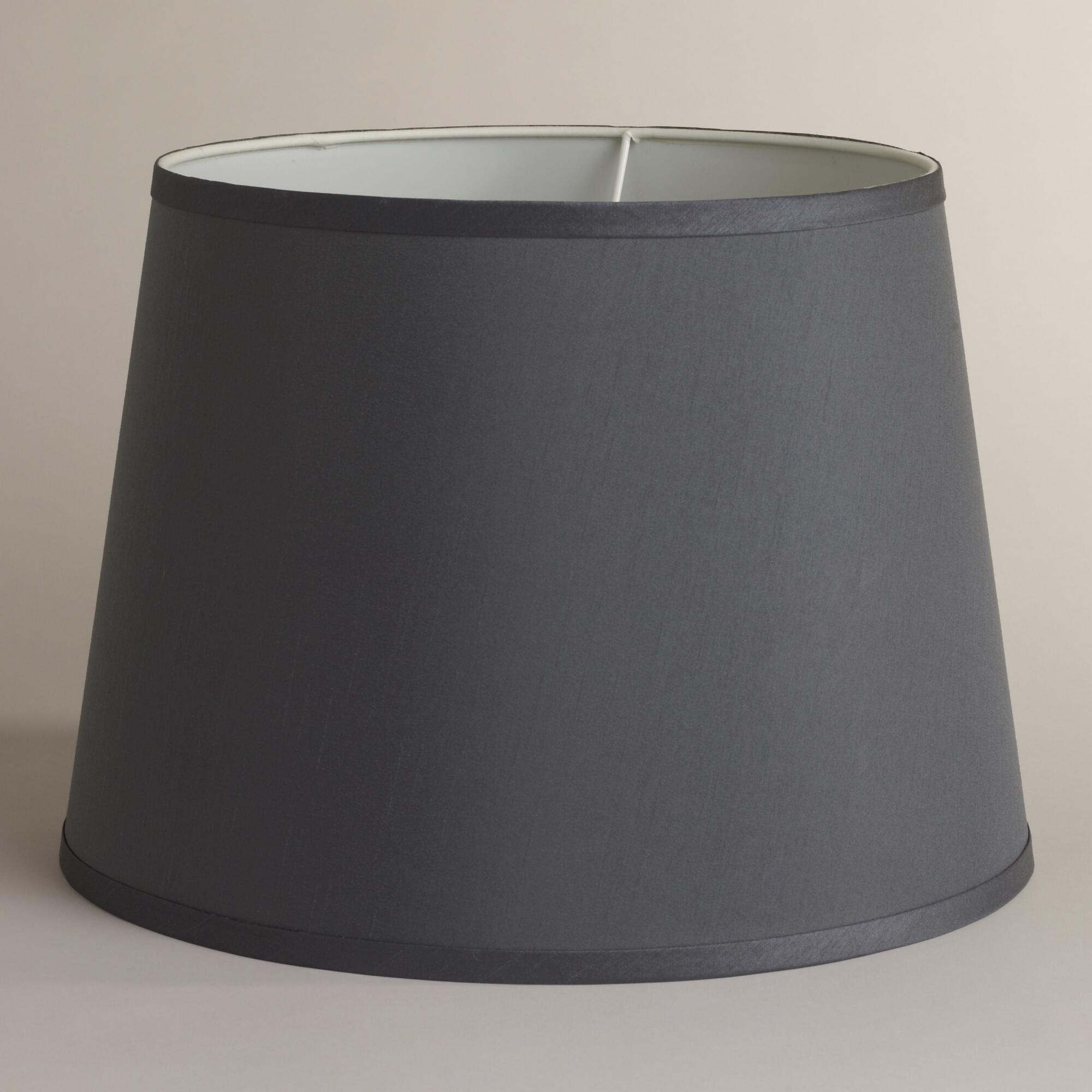 frosted gray faux silk table lamp shade world market. Black Bedroom Furniture Sets. Home Design Ideas