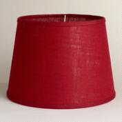 Red Burlap Table Lamp Shade
