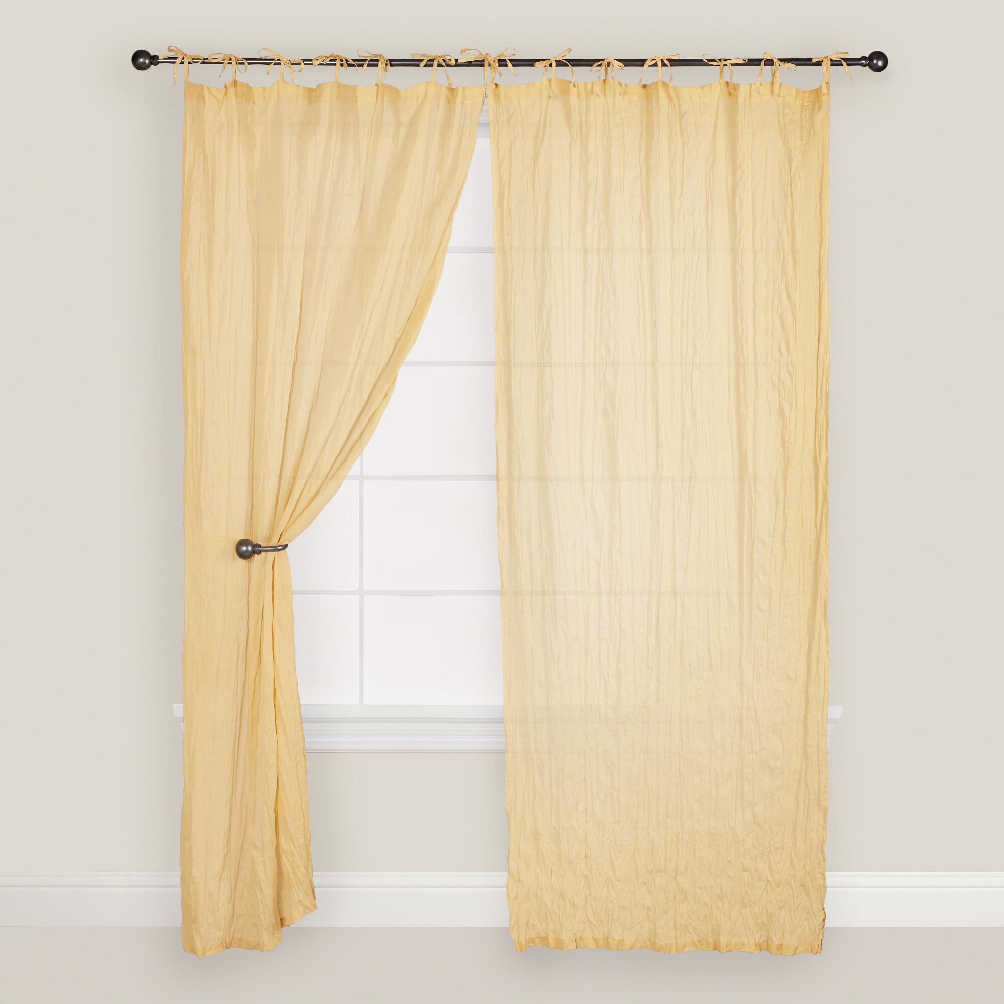 Yellow Cotton Curtains Yellow Crinkle Voile Cotton Curtain World Market Cabana Yellow Printed