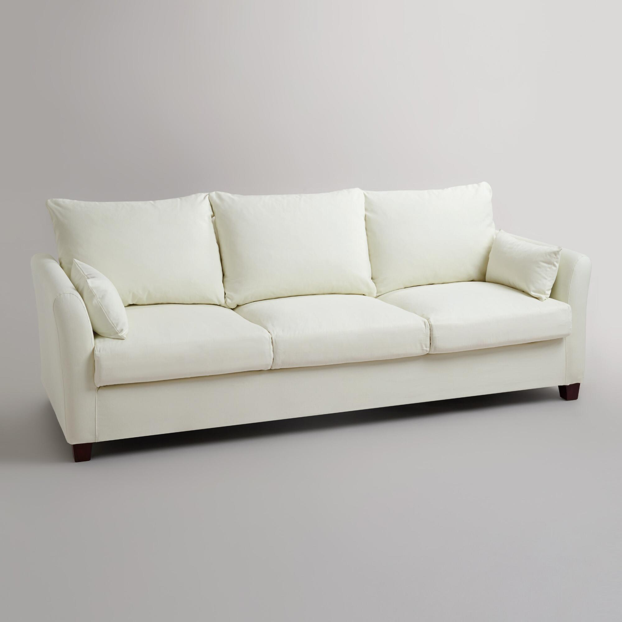 Ivory Luxe Three Seat Sofa Canvas Slipcover World Market