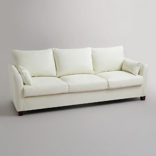Ivory Luxe Three-Seat Sofa Canvas Slipcover