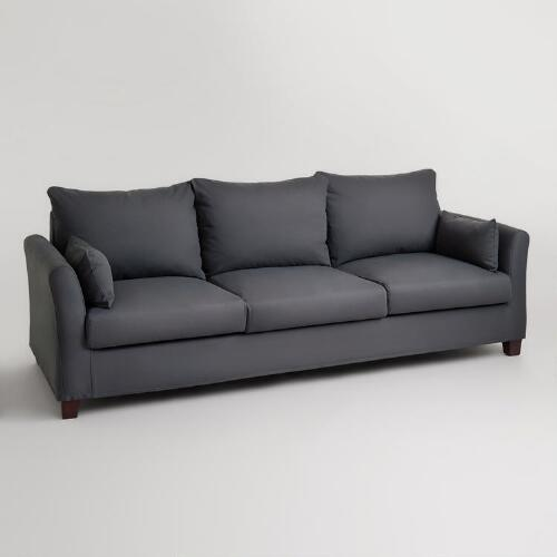 Charcoal Canvas Luxe 3-Seat Sofa Slipcover