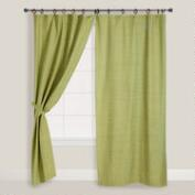 Jaya Green Melange Canvas Curtains, Set of 2