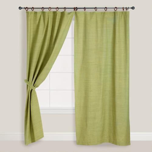 Green Jaya Canvas Curtains, Set of 2