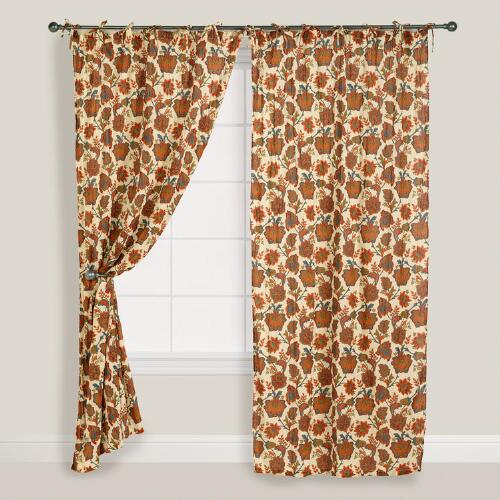 Autumn Floral Crinkle Voile Curtain