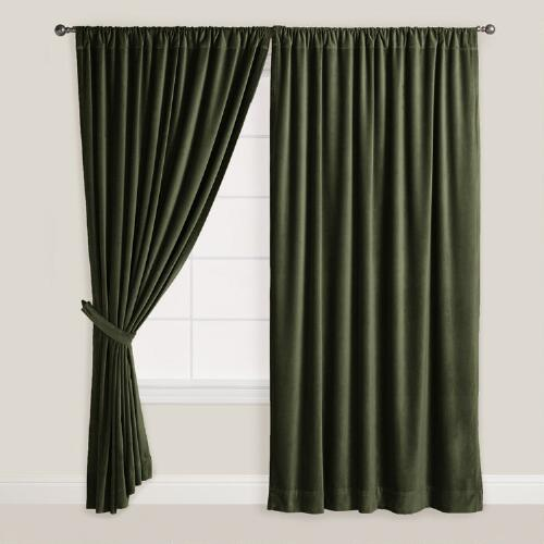 Tradewind Green Velvet Curtain